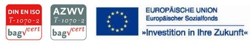Zertifiziert durch die bag. Gefördert durch Mittel des ESF